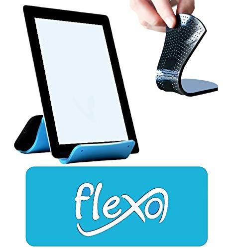 Flexo - Supporto Universale per Cellulare, Tablet, PC. Portacellulare Flessibile Pieghevole e Adesivo - Resistente, Rivestito di Silicone e Gomma Antiscivolo (Azzurro)