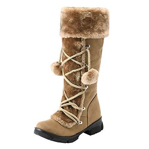 Honestyi Bottes Femme Suede Bottes de Neige Zipper Shoes Grande Taille Chaussures Bottes à Enfiler Bout Rond Bottes Couleur Unie Garder au Chaud Boots Automne et Hiver Chaussures de Outdoor