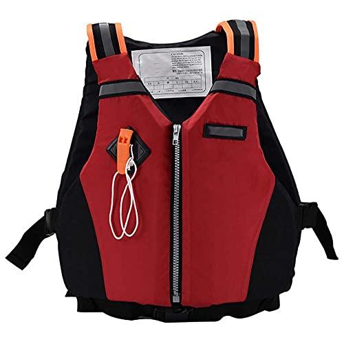 JYMEI Chaleco De Natación para Adultos Chalecos De Flotabilidad Chaleco Salvavidas con Hebilla Ajustable Y Silbato De Emergencia para Deportes Acuáticos Kayak Canotaje Snorkel,Rojo