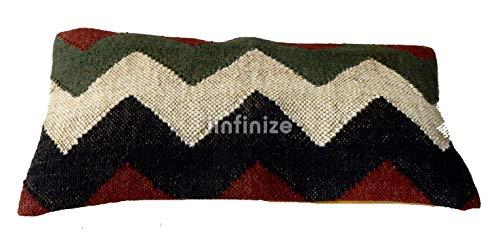 iinfinize - Funda de almohada de lana india de yute Kilim en zigzag bohemio, cierre de cremallera, cojines rectangulares tejidos a mano, para decoración del hogar, funda de cojín de 12 x 24 cm