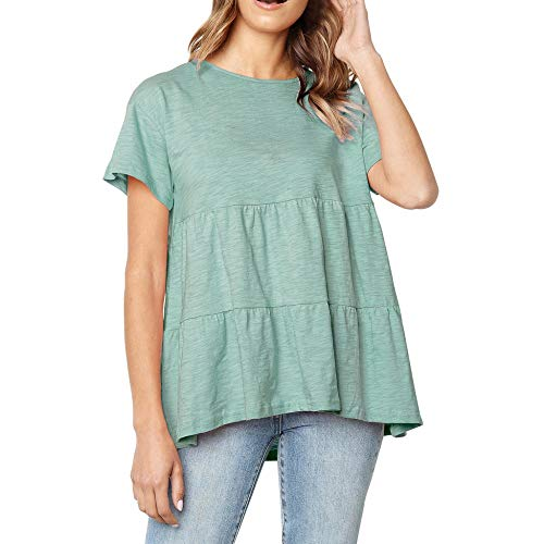 XIAOBAOZITXU vrouwen Solide Volant Oanzet Solide Geraffte Design Korte mouwen T-shirt Tops Dames Tops T-Shirt (Groen)