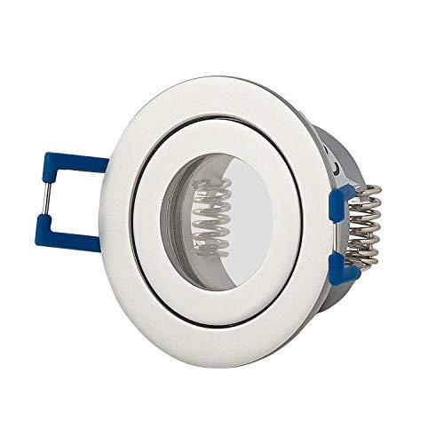 Einbaustrahler Rahmen Silber rund IP-44 für Bad und Außen-Bereich – Einbaurahmen für GU11 MR11 Leuchtmittel 35mm – 40mm Bohrloch Badezimmer Einbau-Spot Strahler Einbauleuchte