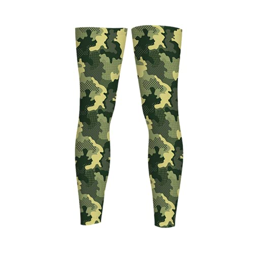 leyhjai Camo And Mosaic Green Full Length Sleeves Compression Sleeve Socks Knee Braces for Basketball Cycling
