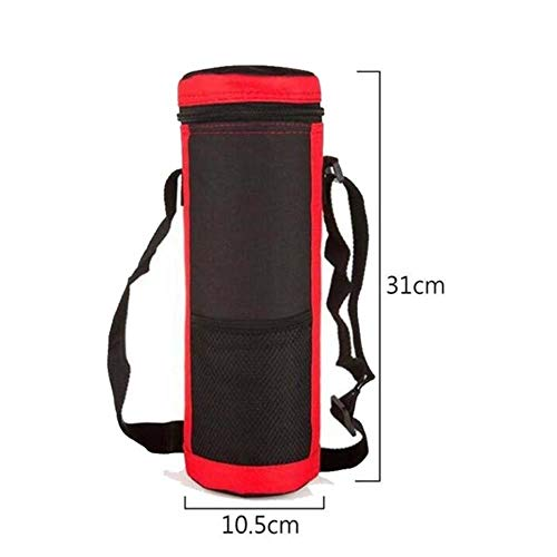 DioLm Big Water Bottle Cover Sac Sangle Strap Neoprene Outdoor Militaire Porte-Bouteille d'eau Sac Isotherme Porte-Pochette Sangle, Eau Glacière Rouge