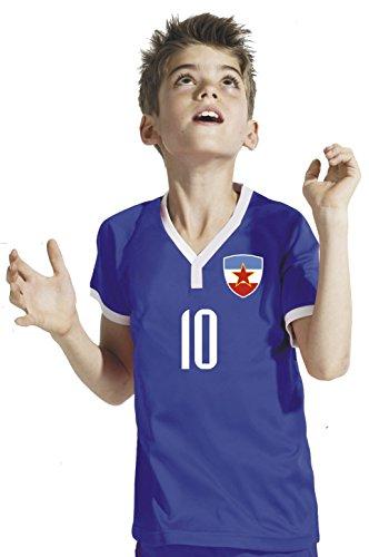 Aprom-Sports Jugoslawien Kinder Trikot - Hose Stutzen inkl. Druck Wunschname + Nr. BWR WM 2018 (140)