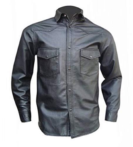 Bespoke Tailored Leather sur Mesure en Cuir sur Mesure – Cuir pour Homme avec Deux Poche Rabat – Mouton Nappa - - Noir - Large