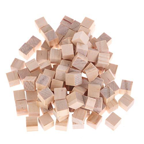TUANTUAN 50 cubos de madera pequeños bloques cuadrados sin terminar bloques de madera natural cubos para decorar rompecabezas rompecabezas DIY proyectos niños juegos