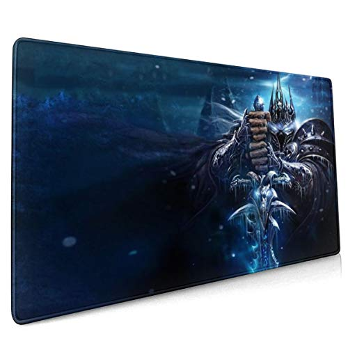 Large Size Mouse Pad for The Lich King,Non-Slip Rubber Base,Stitched Anti-Fray Edges,Waterproof,Smooth Gaming Surface,Keyboard and Mouse Combo Pad Mouse Mat Desk Pad Mousepad 11.8x23.6x0.12 inch