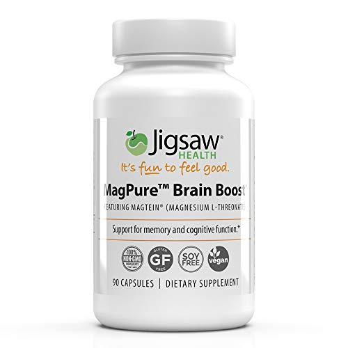 Jigsaw Health - MagPure Brain Boost - Supports Overall Health Including Many brain's Functions Such as Learning abilities, Working Memory, Short-Term & Long-Term Memory.* - 90 Capsules (L-Threonate)