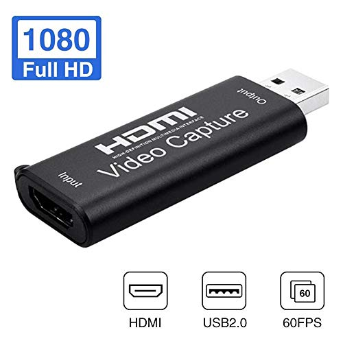 foyar Tarjeta Capturadora HDMI, Convertidor De Captura De Vídeo USB, HDMI A USB 2.0 Capturadora Digitalizadora De Vídeo Game Capture HDMI - USB 2.0 1080P 60FPS HD Dispositivo De Transmisión