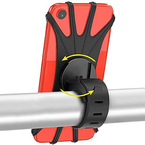MOLIWEN Soporte Móvil Bicicleta - 360 Grados Rotación Soporte Móvil Bici Impermeable Manillar de la Motocicleta Soporte Universal Soporte Movil para Moto para Teléfonos 4 a 6,5' GPS y Otros