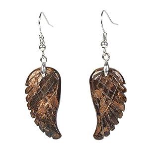 Natural Bronzite Gemstone Crystal Healing Reiki Chakra Handmade Angel Wing Dangle Earrings