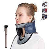 LEAMAI Newest Cervical Neck Traction Device-Adjustable Inflatable Neck Stretcher Collar for Home Traction Spine Alignment -(C03,Blue)