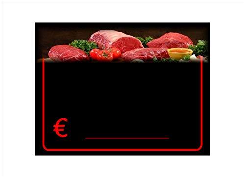 30 Portaprecios cartel porta precios etiquetas de precios plastificadon por la carniceria 8,3x11,3 cm + 30 soportes + 1 marcador no tóxico