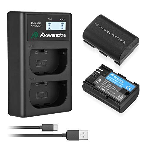 Powerextra LCD Dual Ladegerät und 2 Stück Ersatzakku komaptibel mit LP-E6NH zu EOS R5 R6 und 60D 60Da 70D 80D 5D Mark II III 6D 7D Mark II
