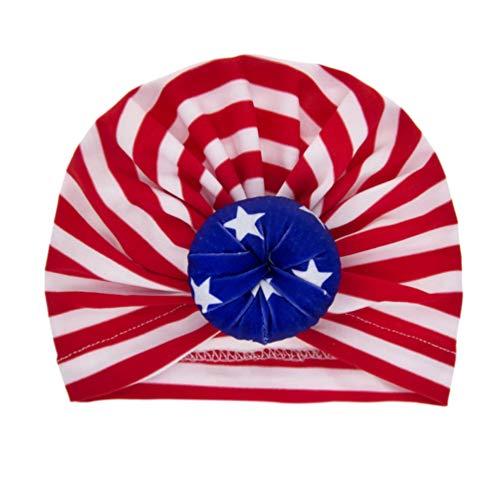 jojofuny 2 Piezas de Gorros Turbantes para Bebé Bandera Americana Gorro para Guardería Nudo de Bollo Gorro para Bebés Día de La Independencia 4 de Julio