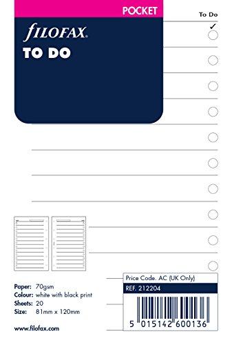 Filofax 212204 Pocket To Do Notizpapier, Englisch, weiß