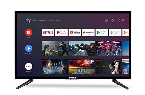 "E:MAX E320HXA - TV Android da 32 pollici  81 cm (Smart TV HD LED 32"", Triple Tuner, Android TV 9.0 Pie, Google Assistant, Google Play, Prime Video e Netflix) Wi-Fi"