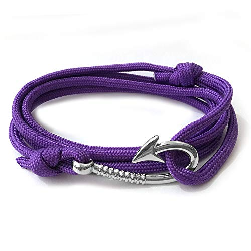 WDAIJY Damen Armband,Lila Silber Haken Mann Anker Armband Armreif Pulsera Design Handgefertigte Weave Polyester Material Armband Für Frau