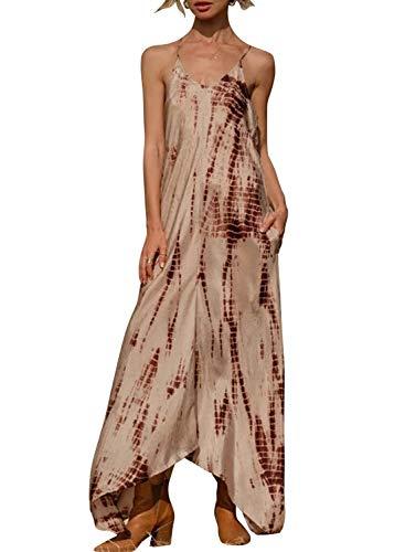 CORAFRITZ Urlaub spezieller Riemen Batik-Kleid Damen Strand Sarong Kleid Bademode Strand Sling Strap Party Kleid Gr. 36, braun