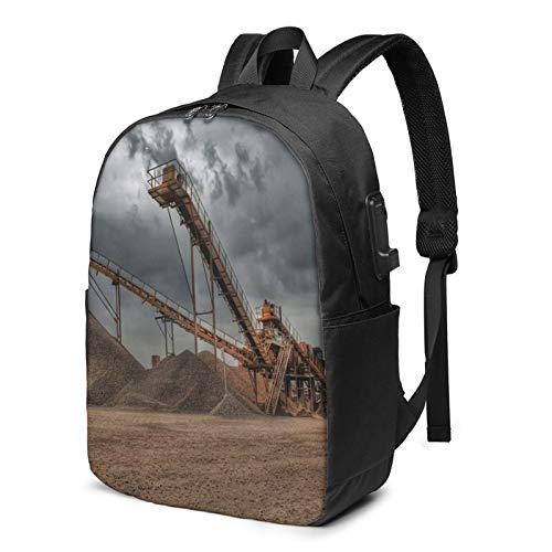 Laptop Backpack with USB Port Landscape Construction Quarry Work, Business Travel Bag, College School Computer Rucksack Bag for Men Women 17 Inch Laptop Notebook