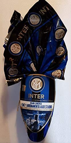 uovo pasqua Inter blu nero calcio + sorpresa ufficiale partecipa al concorso vinci abbonamento allo stadio 180 gr ICAM senza glutine