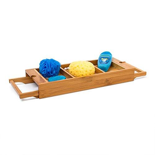 Relaxdays Badewannenablage ausziehbar aus Bambus H x B x T: 7 x 67,5 x 21 cm Badewannenbrett mit verstellbarer Breite für jede Badewanne Badewannentablett mit 2 Haltern Badewannenregal, natur