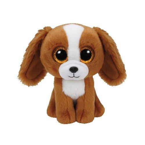 TY 37224 Tala Dog 37224-Tala-Hund Pluschtier mit Glitzeraugen Beanie Boo's, 15 cm, braun/weiß