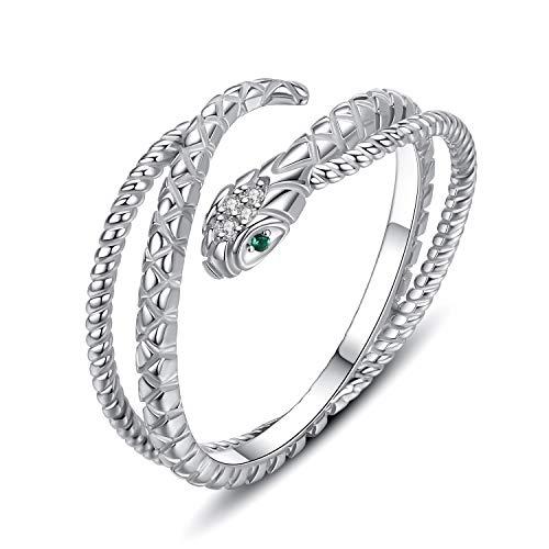 Anillo de serpiente de plata de ley ajustable Indie anillos apilables para mujeres y hombres