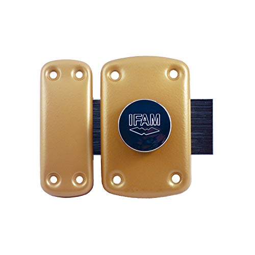 IFAM B6/50 (025360) – Cerrojo de seguridad para puerta, sistema de apertura pomo / llave, palanca de 110 mm y 2 vueltas, 5 llaves de puntos de seguridad