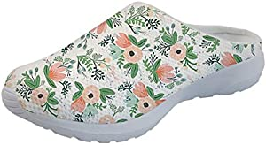 Salabomia Summer Womens Sandals Floral Designs Garden Clogs Shoes Slip-on for Nurse