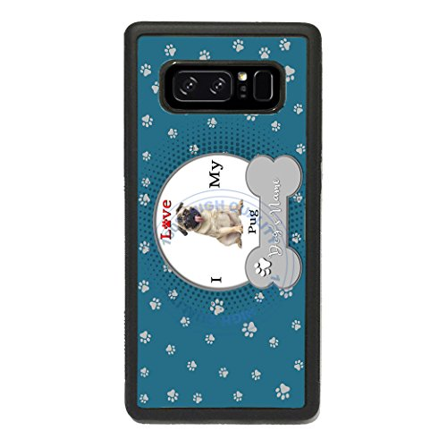 BRGiftShop Personalized Custom Name I Love My Dog Pug Rubber Phone Case for Samsung Galaxy s10 Plus