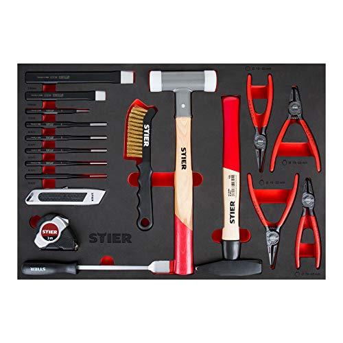STIER Werkzeugsatz, 18-tlg, in Weichschaumeinlage (EVA), für den Werkstattbedarf, inkl. Splintentreiber Meißel Hammer Cuttermesser Drahtbürste