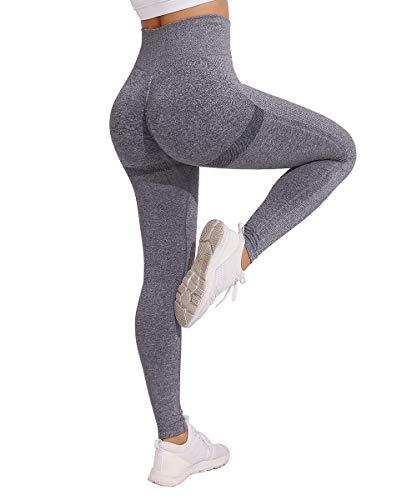 Yaavii Damen Sport Leggings Lange Blickdicht Yoga Leggings Figurformende Sporthose Yogahose Fitnesshose mit Hohe Taille Bauchkontrolle Dunkelgrau S