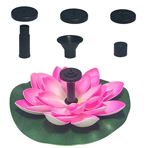 QULONG Kunstmatige lotus Zonnepomp, vrijstaand vogelbad fontein met 3 mondstuk, achthoek waterpaneel Kit vijver binnenplaats tuin terras zwembad outdoor decor