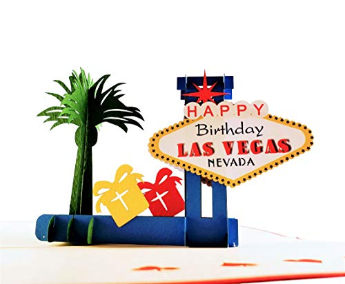 iGifts And Cards Unique Happy Birthday Red Cover Las Vegas 3D Pop Up Greeting Card - Fun, Special Occasion, Congratulations, Celebration, Feliz Cumpleaños, Best Friend, Cute, Sin City, Famous, Unique
