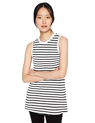 Daily Ritual Women's Jersey Standard-Fit Muscle-Sleeve Swing Tunic, White-Navy Stripe, Large