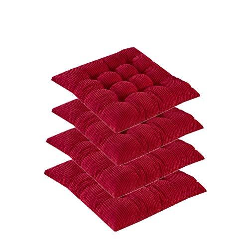 Lpimbgr Verdicken Stuhlkissen,Stuhlkissen mit Bänder,Outdoor Sitzauflage Kissen,für Stühle drinnen und draußen Sitzkissen Garten,40x40 cm 4pcs (Rot)