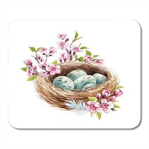 Muismat voorjaar Pasen roze aquarel vogel met blauwe eieren, takken kersenbloesem veren bruin muismat