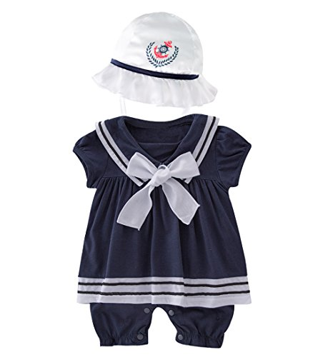 LXKIKMM May's Baby Girls Sailor Marine Navy Romper Onesie Outfit with Hat