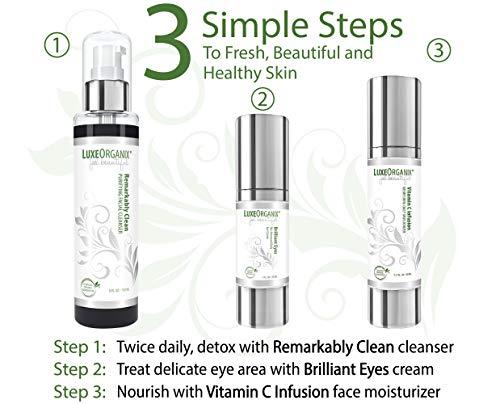 41jpdcNWFvL - LuxeOrganix Organic Eye Cream Dark Circles Anti-Aging Moisturizer With Natural Retinol Alternative & Matrixyl. Brightening Treatment Reduces Puffiness, Under Eye Bags, Wrinkles & Fine Lines, 1 oz Pump