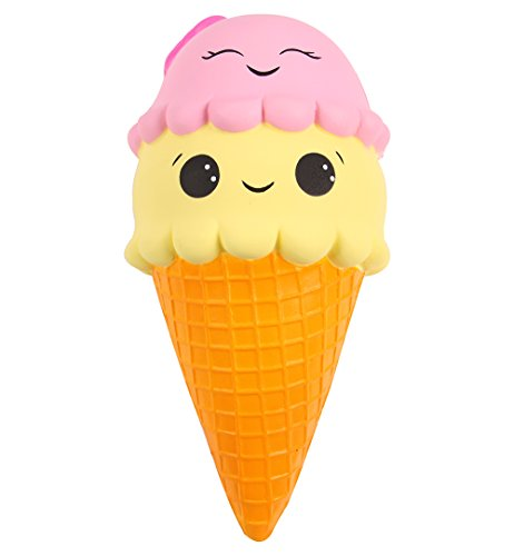 Anboor 9.1 Inches Squishies Jumbo Slow Rising Kawaii Cute Squishies Ice Cream Cone Cake Scented of Decompression Toys 1 Pcs