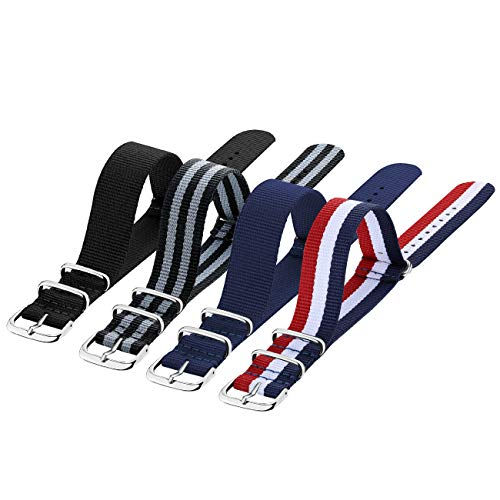 Nato Strap 4 Packs - 20mm 22mm Premium Ballistic Nylon Watch Bands Zulu Style with Stainless Steel Buckle (Black+Black Grey+ Navy Blue+ Red White Navy, 20mm)