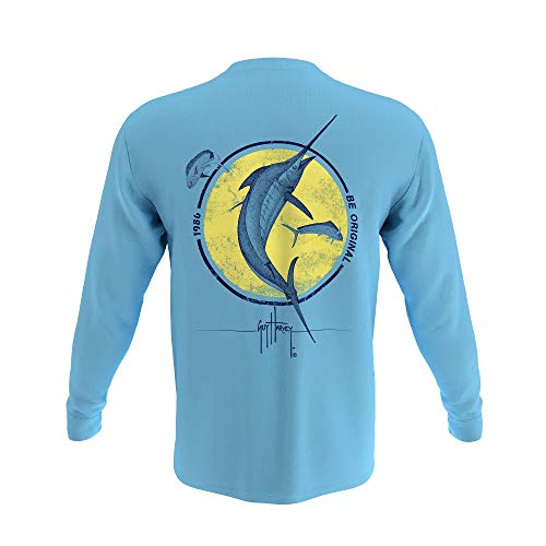 Guy Harvey Men's Long Sleeve Pocket T-Shirt, Blue Grotto Marlin, Large