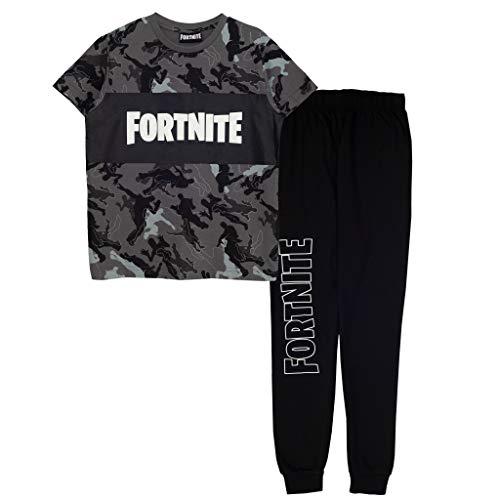 Fortnite Emotes Camo Boys Long Pyjamas Set Black Juego de Pijama, Negro, 12-13 Años para Niños