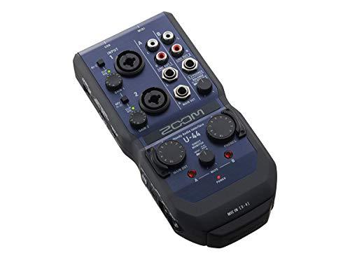 ZOOM U-44 mobiele telefoon audio interface, blauw