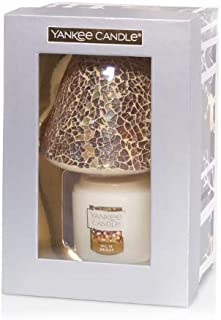 Yankee Candle Glam Mosaic Gift Set Small All is Bright Jar Candle with a Gold Mosaic Jar Shade