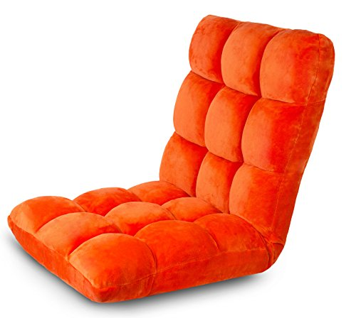 BIRDROCK HOME Adjustable 14-Position Memory Foam Floor Chair & Gaming Chair (Orange)