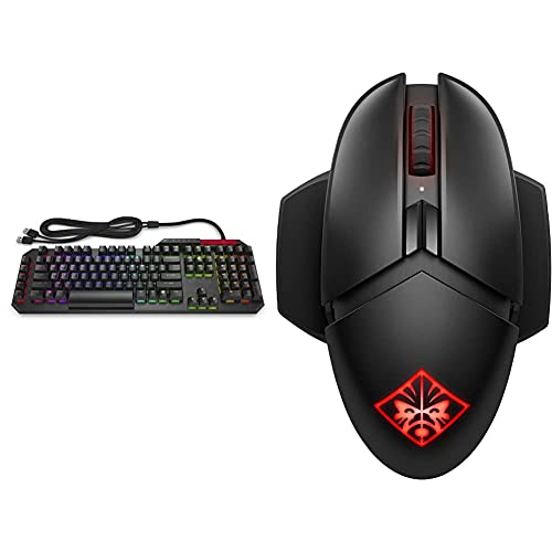 Omen by HP Sequencer Wired USB Mechanical Optical Gaming Keyboard – 10X Faster – Blue Switch - Volume Roller Bar – 16.8M RGB Colors – Anti Ghosting & OMEN by HP Photon Wireless Gaming Mouse