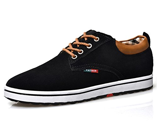 ailishabroy Aufzug Schuhe Herren Echtes Veloursleder-Leder schnüren Sich Oben beiläufige Schuhe (43 EU, Schwarz)